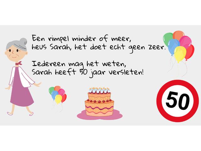 Sarah spandoek 50 jaar